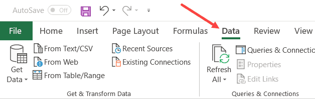 Click on the Data tab in the ribbon