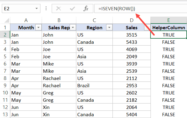 Enter ISEVEN formula in the helper column and copy it for all the cells