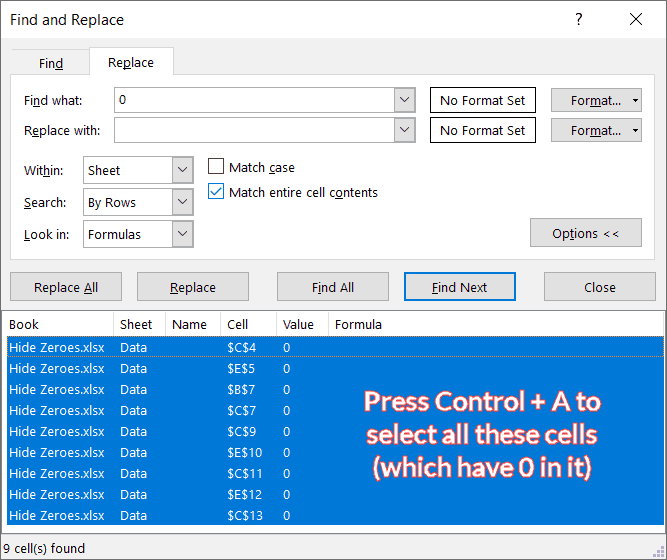 Find and Select all cells with 0 in it