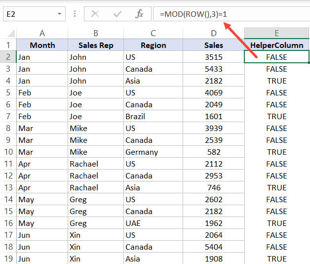 Helper Column MOD formula