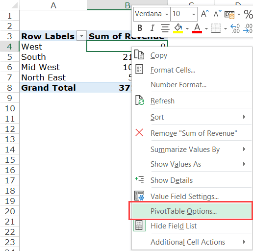 Right click on any cell in Pivot Table and then click on Pivot Table options