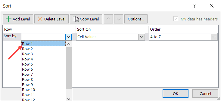 Select Row1 as the Sort by criteria