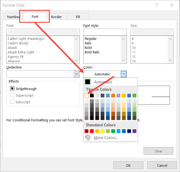 Select the white font color to hide the zeroes using conditional formatting