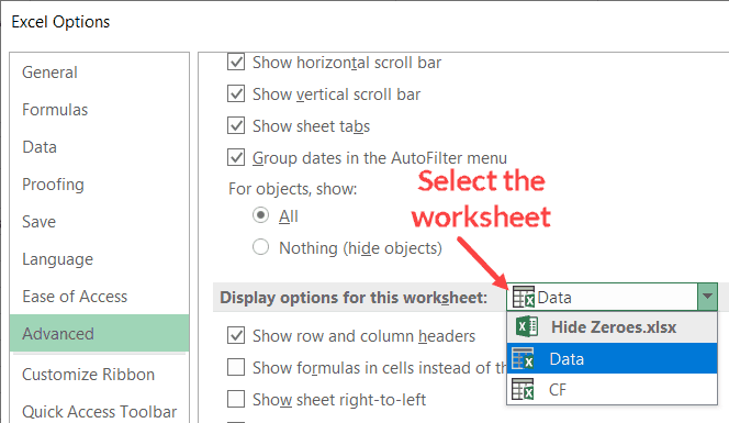 Select the worksheet in which you want to hide zeroes