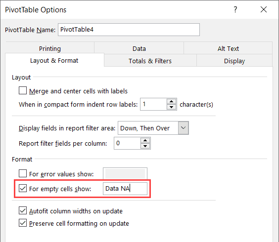 Show Data Not Available in Pivot Table instead of 0
