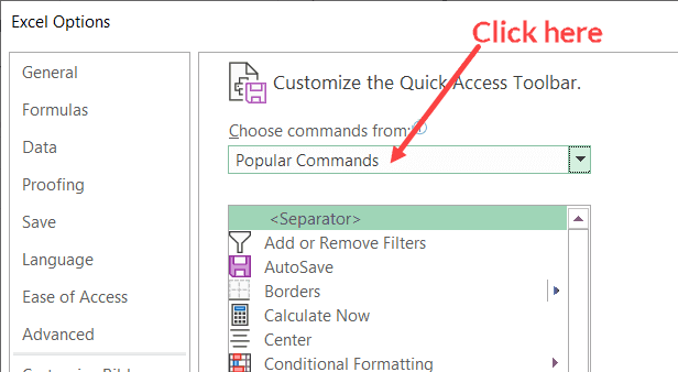 Click on Choose Commands Drop Down