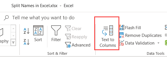 Click on Text to Columns option