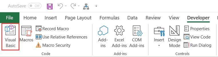 Click on Visual Basic option