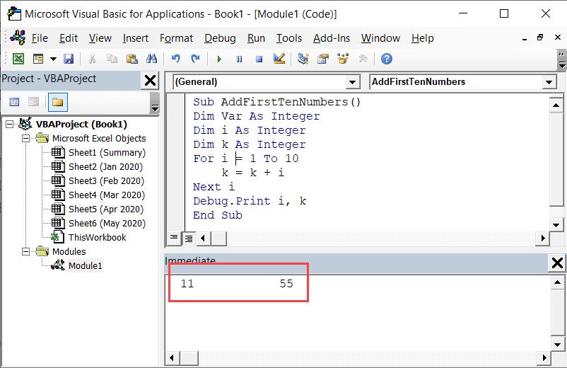 Debug the code using immediate window