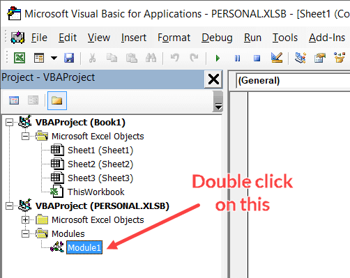 Double click on the Personal Macro Workbook Module option
