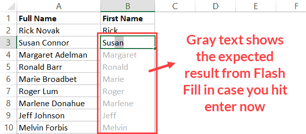 Expected Text shows up in Gray with Flash Fill