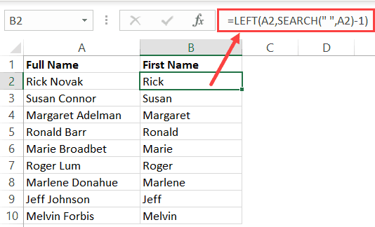 Formula to Get the first name