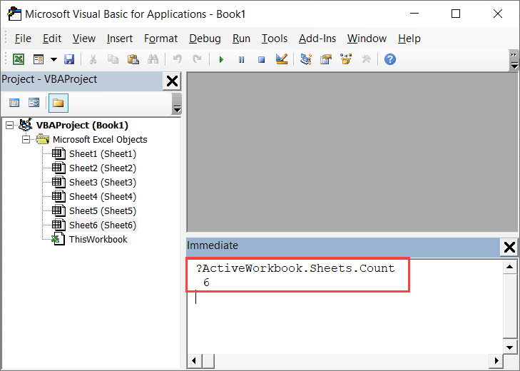 Get Sheet Count in Immediate Window with a single line