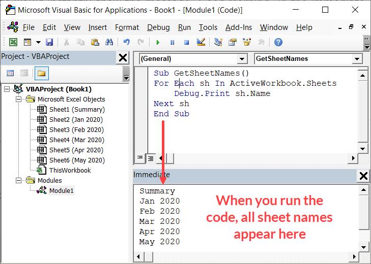 Get Sheet names in the immediate window
