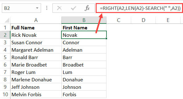 Get the last name from the full name