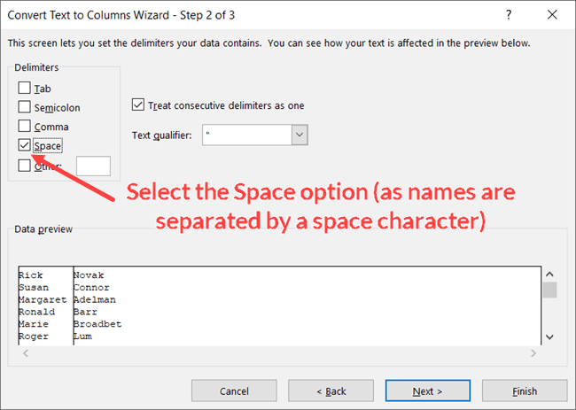 Select the space option in Text to Columns Wizard Step 2