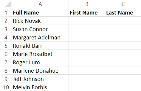 Split Names in Excel - Separate First and Last Name Dataset