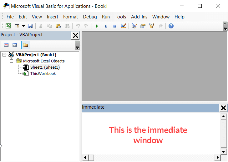 This is Immediate Window in Excel VB Editor