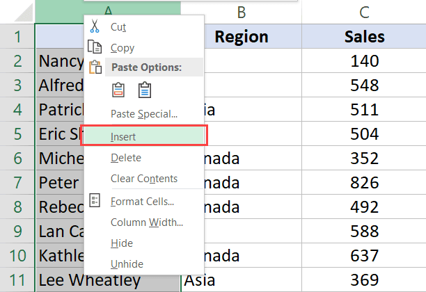 Insert a column to the left of the dataset