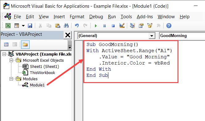 Adding VBA Macro to a regular module