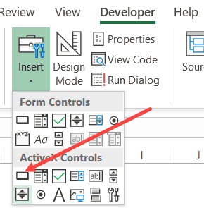 Click on ActiveX Control Command Button option in the developer tab