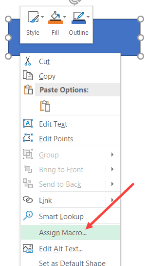 Click on Assign Macro