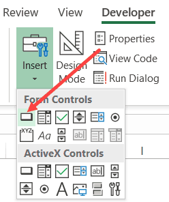 Click on Form Control button icon