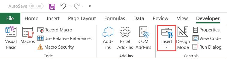 Click on Insert option in the Developer tab