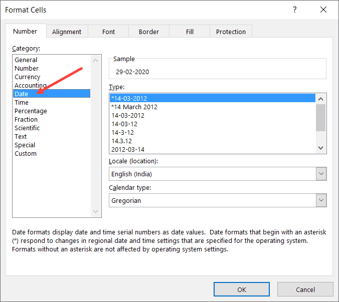 Click on the Date option in the left pane