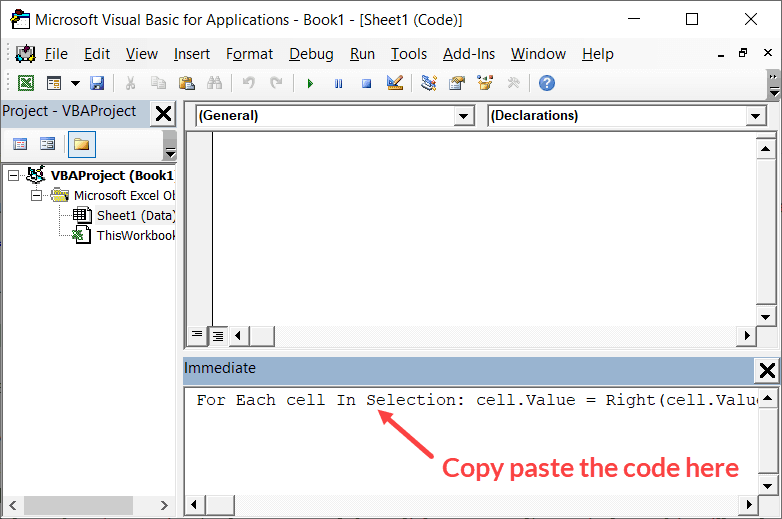 Copy and Paste the code in immediate window
