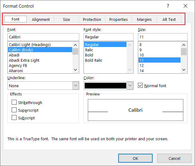 Formatting options for a form control button