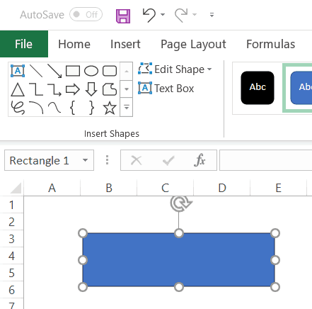 Rectangle Button in the Worksheet