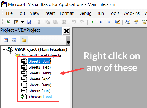 Right click on any of the object in the Project Explorer