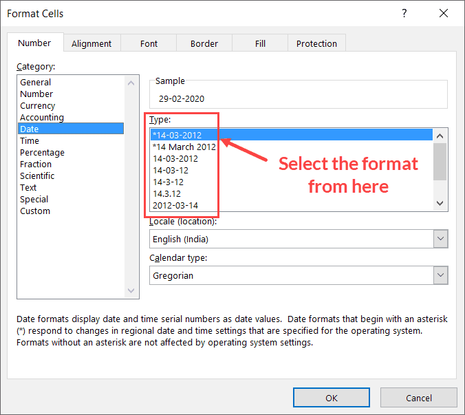 Select the date format you want to use