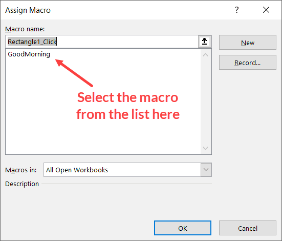 Select the macro from the list