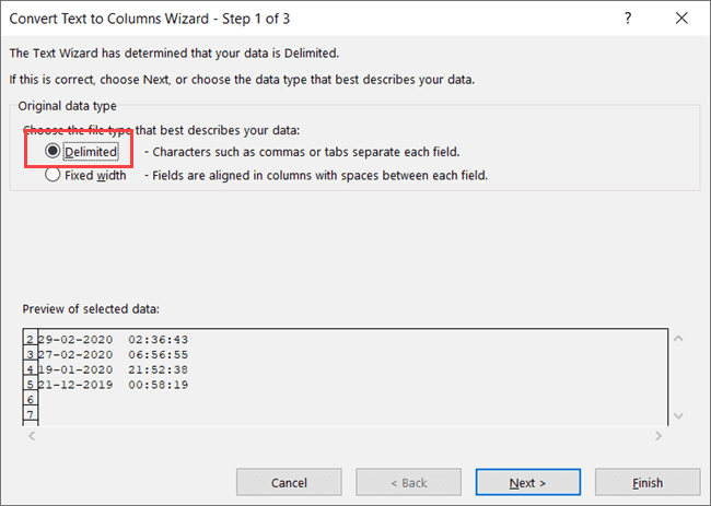 Step 1 - Click on Delimited option in the Text to Columns Wizard