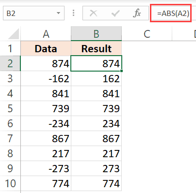 ABS function to change negative numbers to positive values