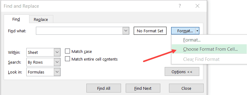 Click on Choose Format from cell