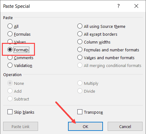 Click on Formats to copy the formatting only