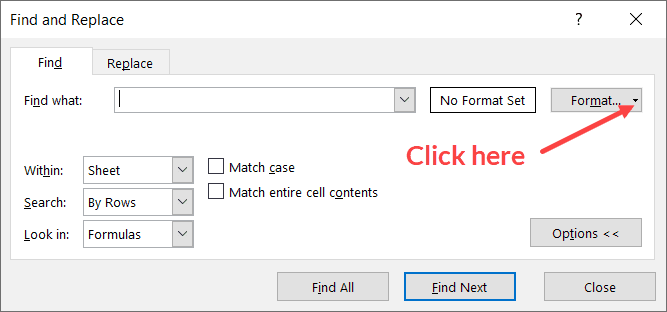 Click on the Format button drop-down icon