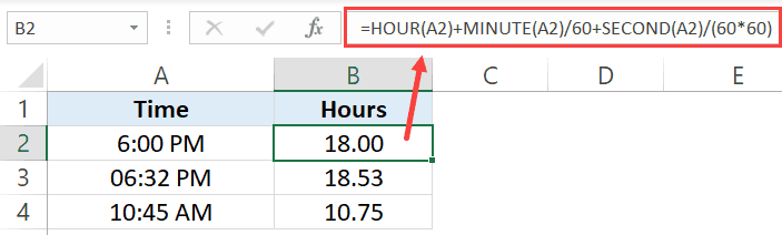 Convert Time to Decimal with Hour Minute Second Formula