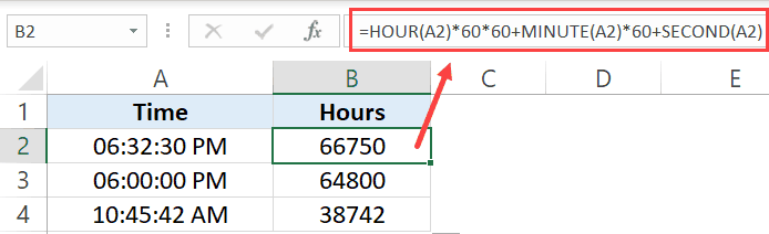 Convert time to minutes using HOUR MINUTE SECOND formulas