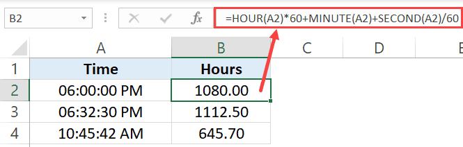 Convert time to minutes using formulas