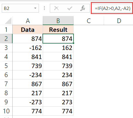 Formula to convert negative numbers to positive numbers