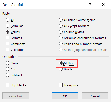 Select multiply in the Paste Special dialog box