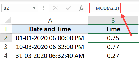 Split Date and Time using MOD function