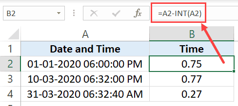 Split date and time using INT function