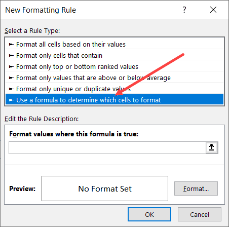 Click on Use a formula to determine which cells to format