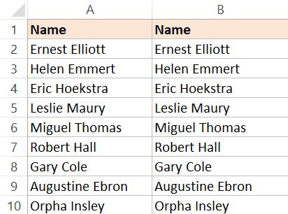 Copy Names dataset in Adjacent column