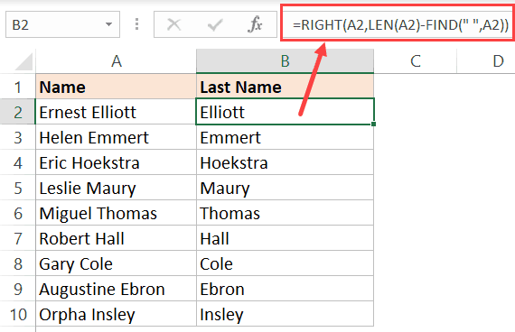 Excel Formula to get the last name from full name